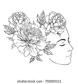 Profile of a young girl with peonies in her hair. Hand drawn vector fashion illustration black outlines isolated on white. Female portrait or magic fairy. Fantasy, Beauty, fashion, tattoo design.