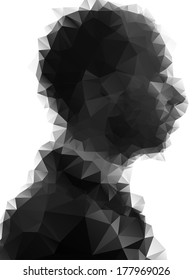 Profile of young man consisted of  triangles.