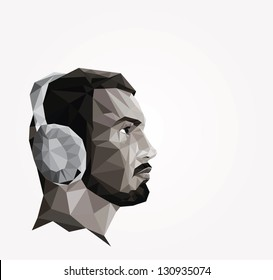 Profile of young man made of triangles, origami style