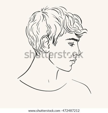 Profile Young Man Short Curly Hair Vector De Stock Libre De