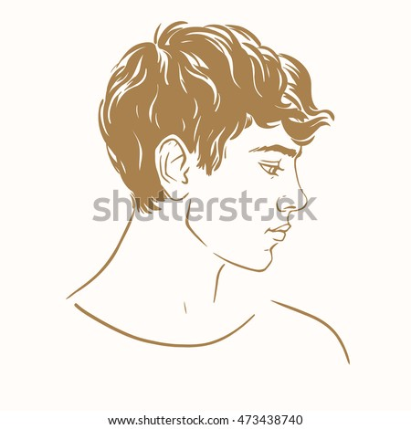 Profile Young Man Short Curly Hair Stock Vector Royalty Free
