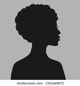 Profile of a young woman. Default avatar profile icon.Black placeholder photo. Vector illustration