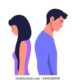 Profiles of a man and a woman in a quarrel. Conflicts between husband and wife. Divorce. Depression and anxiety. Vector illustration in flat style