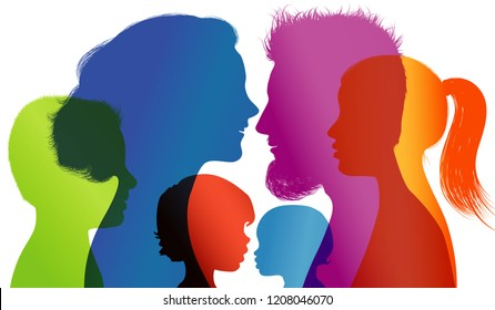 Profiles with mom - dad - little boy - girl. Family concept. Colored silhouette. Vector. Multiple exposure