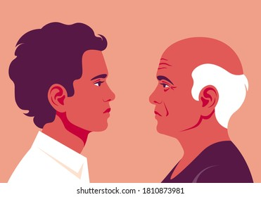 Profiles of older and younger men. The faces is on the side view. Avatar. Vector Flat Illustration