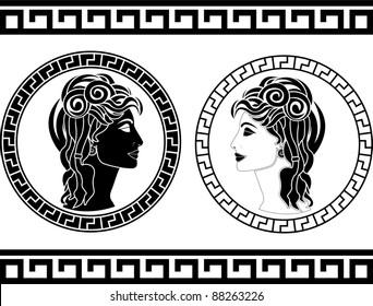 Greek Ancient Woman Head Icon Stock Vectors, Images & Vector