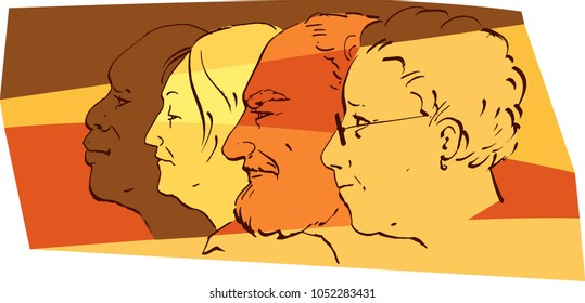 Profiles of senior people of different ethnicity, EPS 8 vector illustration