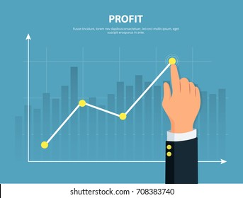 Profit. Businessman manages graph of financial growth . Concept financial investments and revenue increase. Vector illustration in flat style.