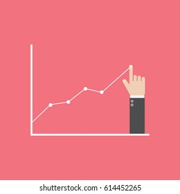 Profit concept, growing business graph. Businessman manages financial growth graph. Template investment. Vector illustration flat design.