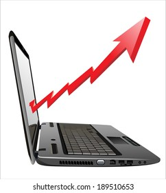 Profit concept, red arrow and business growth chart on laptop