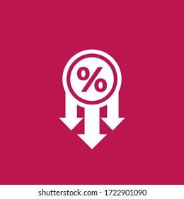 profit decrease, falling rates vector icon