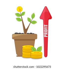 Profit or financial growth concept. Profit graph, business success. Money growing on tree. Rising graph. Vector illustration.