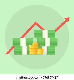 Profit or financial growth concept. A stack of money up arrow. Profit graph in flat style. Business success.