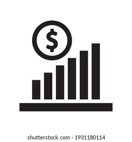 Profit growth icon - income increase graph chart icon