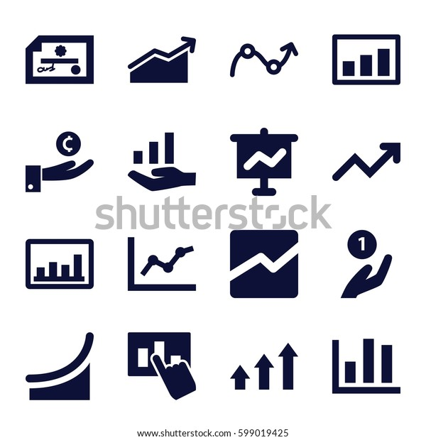 profit icons set. Set of 16 profit filled icons such as graph, line chart, graph on hand, chart