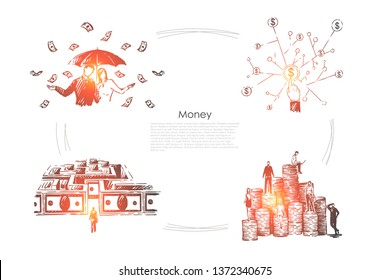 Profit, income, millionaires with umbrella under money rain, cash maze, rich people on coin stacks banner. Financial literacy, business investment concept sketch. Hand drawn vector illustration