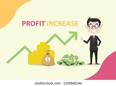 profit increase with business man standing with money and graph increasing vector illustration