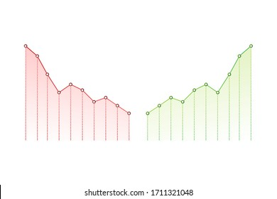 Profit and lost money or budget. Cash and rising graph arrow up, concept of business success. Capital earnings, benefit. Vector stock illustration