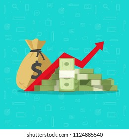 Profit money or budget vector illustration, flat cartoon pile of paper cash and rising graph arrow up, concept of business success, economic or market growth, investment revenue earnings, benefit