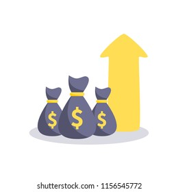 Profit money icon. Vector illustration.