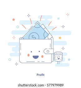 Profit or Money Income icon concept. Happy wallet with earnings. Cute premium quality vector illustration for Website Element, Mobile websites, Apps.
