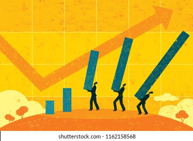 Profit Projections. Businessmen projecting future profits using a life size bar graph.