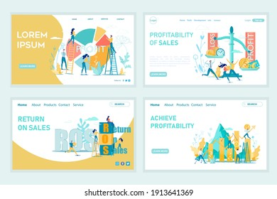 Profit, ROS and Return on Sales Achieve Profitability Landing Page Set. Digital Marketing Strategy. Financial Project Results in Analytics Graphs and Charts. Business Optimization. Vector Illustration