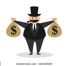 Profitable businessman is earning money. Caricature of greedy fat ugly rich capitalist. Person is holding US dollar in bag, wearing black suit, and smoking cigar. Comic vector illustration.