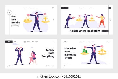 Profitable Insight, Weights Balance Website Landing Page Set. Crowd Funding Project Sponsorship. Entrepreneur with Scales, Business Winner Show Power Web Page Banner. Cartoon Flat Vector Illustration
