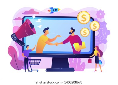 Profitable partnership, business partners cowork. Affiliate marketing, cost effective marketing solution, affiliate marketing management concept. Bright vibrant violet vector isolated illustration