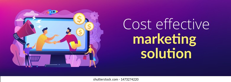 Profitable partnership, business partners cowork. Affiliate marketing, cost effective marketing solution, affiliate marketing management concept. Header or footer banner template with copy space.