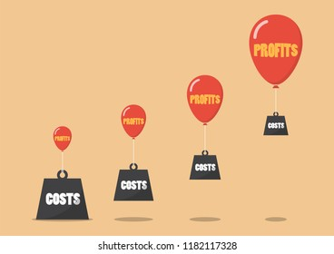 Profits and costs business metaphor. Business concept vector illustration