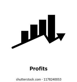 Profits icon vector isolated on white background, logo concept of Profits sign on transparent background, filled black symbol