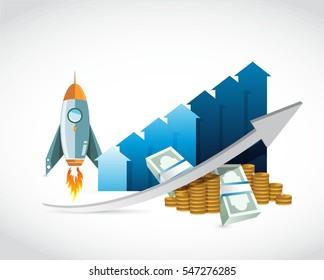 profits skyrocket. business graph concept illustration design graphic over white
