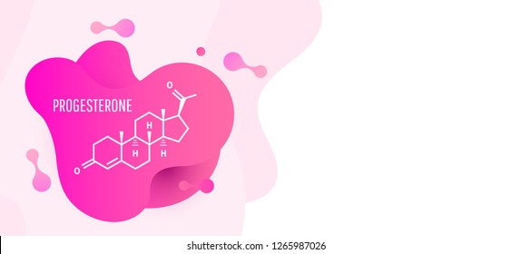 Progesterone female sex hormone molecule isolated on wave liquid background. Vector icon.