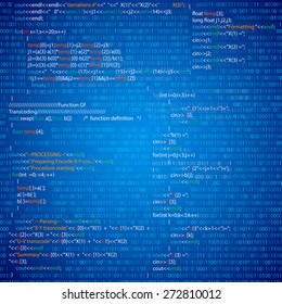 Program code parts with binary listings, abstract programming vector background