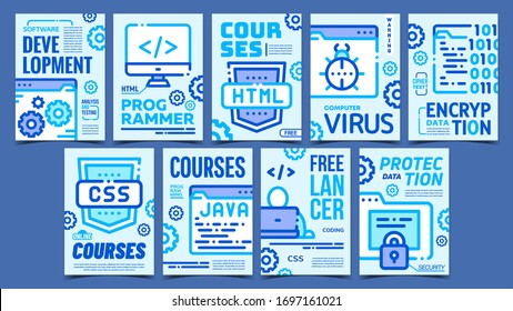 Program Coding Advertising Posters Set Vector. Html, Css And Java Courses, Freelancer Coding And Development Collection Of Different Promotional Banners. Concept Mockup Stylish Colorful Illustrations
