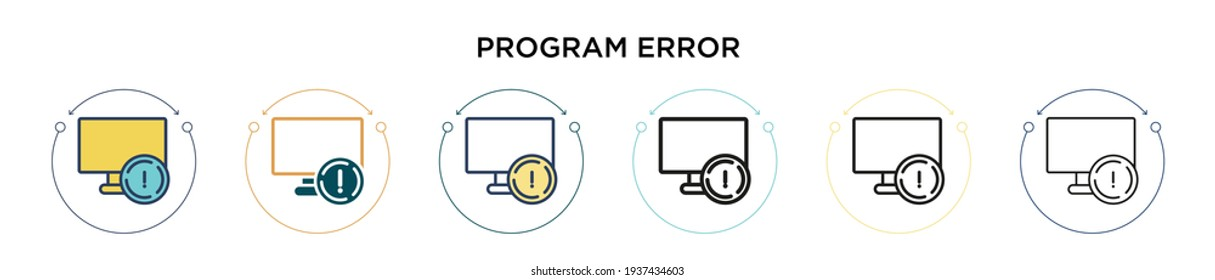 Program error icon in filled, thin line, outline and stroke style. Vector illustration of two colored and black program error vector icons designs can be used for mobile, ui, web