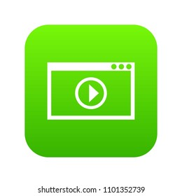Program for video playback icon digital green for any design isolated on white vector illustration