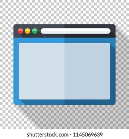 Program window icon in flat style with long shadow on transparent background
