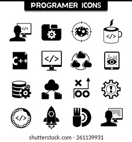 programer and software development coding icons