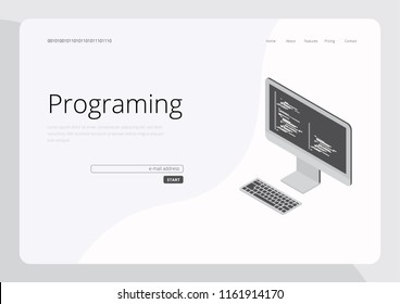 Programing Concept Landing Page UI UX Vector Illustration
