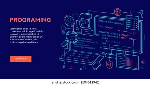 Programing Concept for web page, banner, presentation. Vector illustration