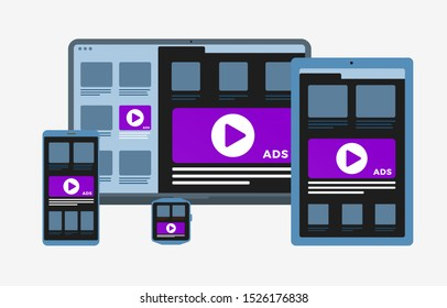 Programmatic Advertising and targeting Native marketing concept. Cross-device and multi target audience ads strategy. Laptop, Tablet PC, mobile phone and smart watch vector flat icon isolated on white