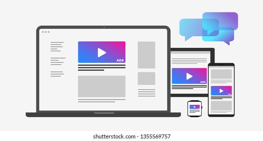 Programmatic targeting marketing and Native Advertising - Cross-device and multi target audience ads strategy. Laptop, Tablet PC, mobile phone and smart watch icon isolated on white background.