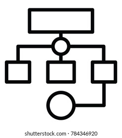 Programme planning or sitemap workflow thin line icon