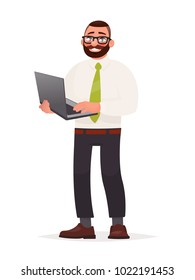 Programmer. A bearded man with glasses is holding a laptop in his hands. Software developer. Vector illustration in cartoon style
