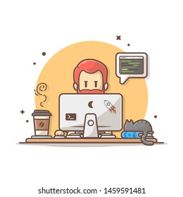 Programmer with Code, Cat on Book, and Coffee Vector Illustration. Developer. Hacker. Software Engineer. Flat Cartoon Style Suitable for Web Landing Page,  Banner, Flyer, Sticker, Card, Background