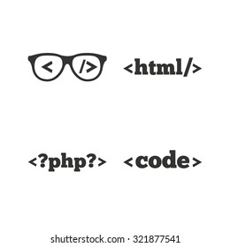 Programmer coder glasses icon. HTML markup language and PHP programming language sign symbols. Flat icons on white. Vector
