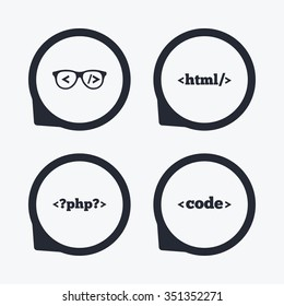 Programmer coder glasses icon. HTML markup language and PHP programming language sign symbols. Flat icon pointers.